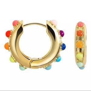 Rainbow Studded Small Gold Huggie Earrings